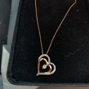 10k Diamond heart necklace 18""